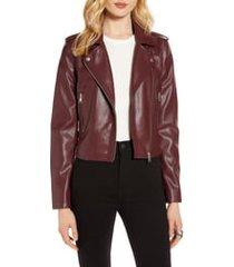 women's halogen faux leather moto jacket, size xx-large - burgundy