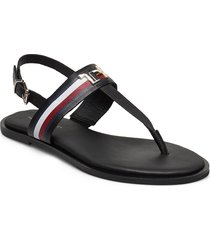 corporate leather flat sandal shoes summer shoes flat sandals svart tommy hilfiger