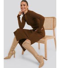 na-kd shoes graphic heel overknee boots - beige