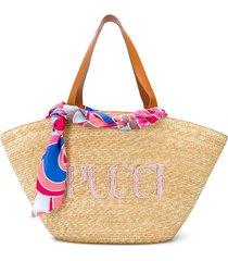 emilio pucci logo-embroidered straw tote bag - brown