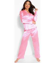 mix & match roze gestreepte satijnen pyjama broek, roze