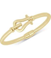 italian gold horseshoe hook bangle bracelet in 14k gold-plated sterling silver