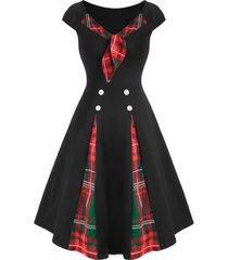 contrast plaid godet bowtie vintage dress