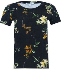 camiseta estampado floral color negro, talla 8