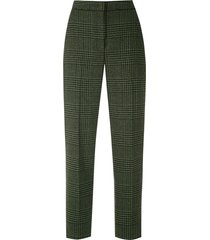 eva tweed straight trousers - green