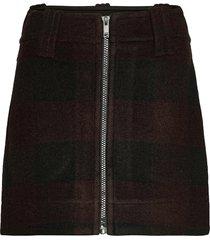 double wool kort kjol svart ganni