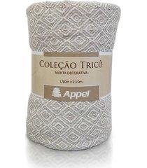 manta p/ cama e sofá 100% algodão 1,50 x 2,10- appel - caqui cru