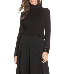 women's eliza j sequin cuff mock neck sweater, size small - black