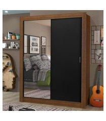 guarda-roupa solteiro madesa dallas plus 2 portas de correr com espelho 4 gavetas marrom