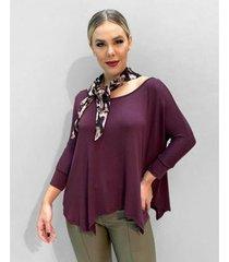 blusa richini ampla malha assimétrica feminina - feminino