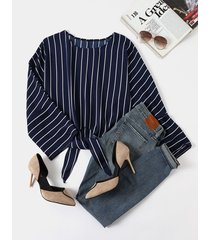 blusa manga larga diseño con cordones y rayas redondas cuello