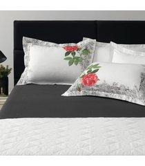 jogo de cama 180 fios 3 peã§as king levine  - karsten - branco/floral - dafiti