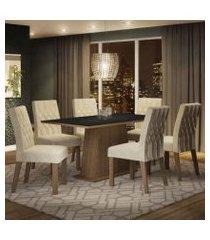 conjunto sala de jantar madesa daniela mesa tampo de madeira com 6 cadeiras rustic/preto/imperial