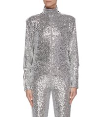 stripe outseam sequin embroidered high neck track jacket