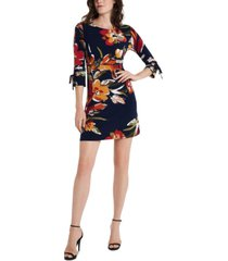 msk petite printed tie-sleeve shift dress