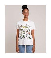 t-shirt feminina mindset botânica manga curta decote redondo bege claro