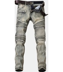 light vintage biker fashion elastic stone washed sottile ripped jeans per uomo
