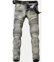 light vintage biker fashion elastic stone washed sottile ripped jeans per uomo