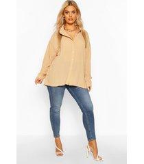 plus oversized geplooide blouse, kameel