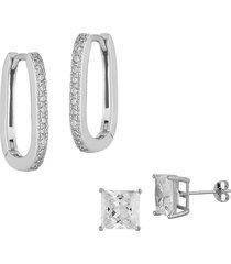 chloe & madison women's 2-pair rhodium-plated sterling silver & cubic zirconia oblong hoop & stud earrings set