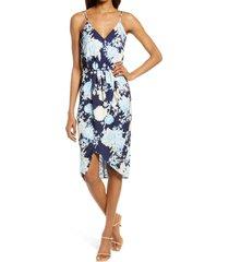 women's chelsea28 sleeveless faux wrap dress, size x-large - blue