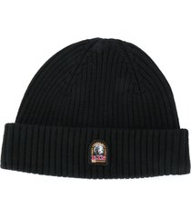 parajumpers logo patch ribbed beanie - black