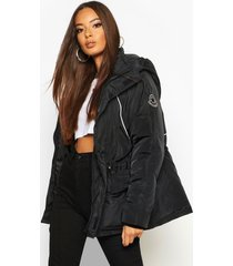 contrast piping synch waist parka, black