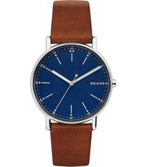 skagen men's signatur brown leather strap watch 40mm skw6355