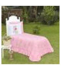 cobre leito solteiro flamingo rosa ione enxovais 2 peças