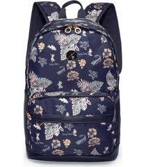 mochila azul florida hang loose gail estampada - azul - feminino - dafiti