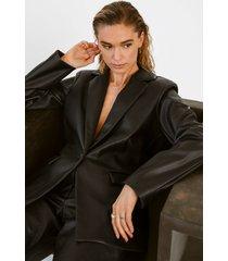 tina maria x na-kd oversize blazer i pu - black