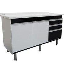 gabinete para cozinha em mdf ferrara 150x70cm preto