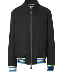 burberry harrington stripe-trim jacket - black
