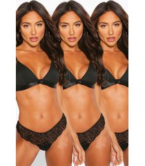 3 pack triangle bralette, black