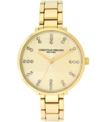 christian siriano women's analog gold-tone stainless steel add-a-link watch 38mm