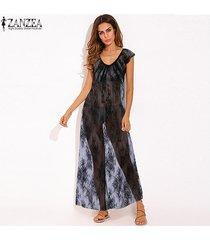 zanzea bikini de verano para mujer vestido de playa de encaje vestidos largos camisón -negro