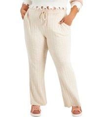 full circle trends trendy plus size ribbed flare-leg pants