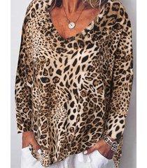 camicetta casual a maniche lunghe con stampa leopardata scollo a v per donna