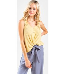 leigh twist front sweater tank - yellow