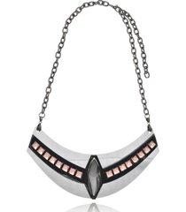 maxi colar le diamond geométrico arabesco prata