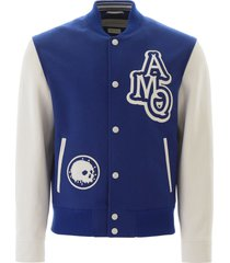 alexander mcqueen varsity jacket with leather logo patch