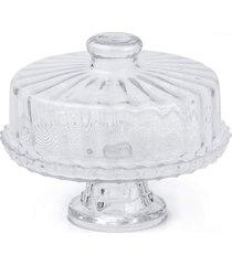 prato para bolo, boleira, porta bolo de vidro com tampa e base - veneto