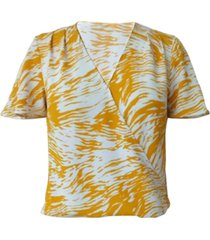 alfani printed surplice flutter-sleeve top, created for macy's