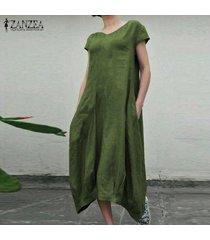 zanzea verano de las mujeres de la manga corta vestido de la playa de los vestidos ocasionales flojos kaftan -ejercito verde
