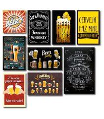 kit placas decorativas bebidas frases vintage mdf- 9 placas