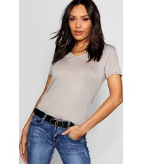 basic super soft v neck t-shirt, grey marl
