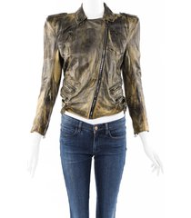 balmain green structured distressed leather jacket green sz: s