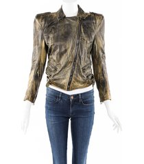 balmain structured distressed leather jacket