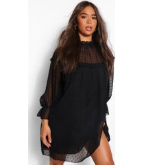 dobby high neck ruffle detail shift dress, black
