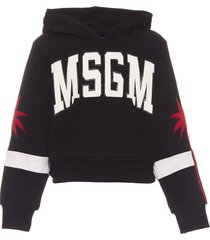 msgm cropped hoodie sweatshirt